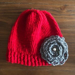 Other - Handmade kids flower red and gray hat